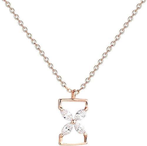 ZPPYMXGZ Co.,ltd Collar Colgante de Moda Collar S925 Collar de Reloj de Arena de Plata esterlina Señoras Temperamento Simple Hipster Gargantilla de circón Creativo Mujer