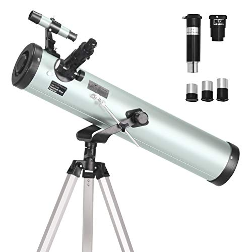 ToyerBee Telescope 76mm Aperture 700MM, with 3 Eyepieces H20mm H12.5mm H4mm&Tripod&Finder Scope&Moon Mirror, 70X-350X Magnification- Reflector Telescope for Kids& Students&Adults&Astronomy Beginners