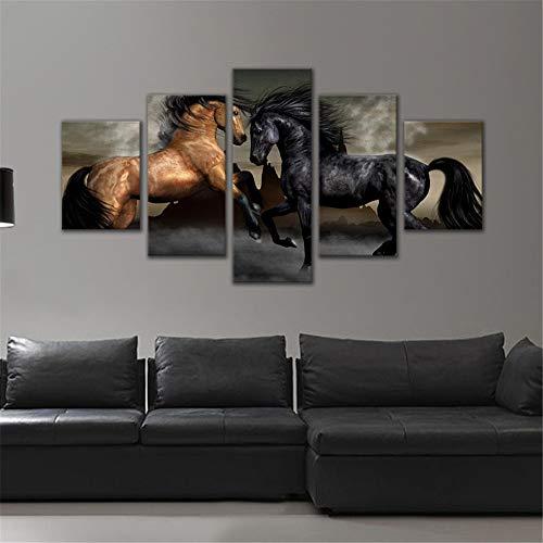 WSNDG Wulian oranje hemel onder het paard huisdecoratie schilderij zonder fotolijst 30x40cmx2 30x60cmx2 30x80cmx1 G2
