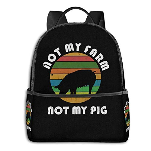 Not My Pig Not My Farm - Mochila para ordenador portátil, diseño de escuela