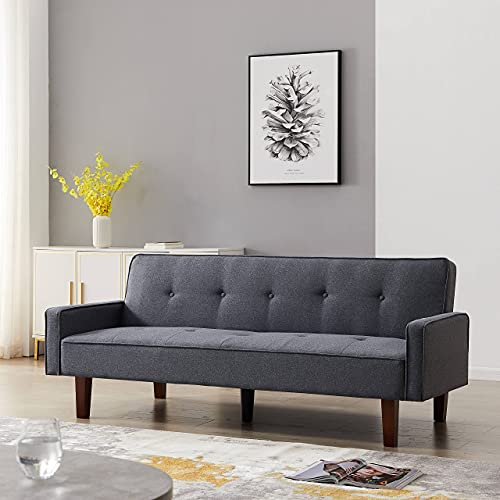 """Sofa Bed Sleeper Sofa, Convertible Loveseat with Removable Armrest and Solid Wood Frame for Compact Living Space, Apartment, Dorm and Living Room, 75""""L (Gray)"""