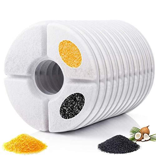 Dycsin Filtro de Fuente de Agua para Gatos, Paquete de 12 filtros de Repuesto de Carbono para Fuente de Flores para Mascotas