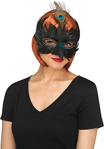 Deluxe Feathered Bird Half Mask| Womens Masquerade Halloween Costume Accessory Blue