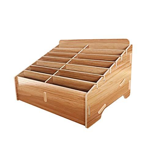 GLOTRENDS Soporte para teléfono móvil de madera de 14 rejillas Organizador de escritorio Estante de almacenamiento para la oficina del aula (Rack14)