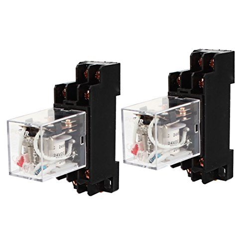 uxcell Coil Power Relay DPDT DIN Rail Mounted JQX-13F with Socket, 2...