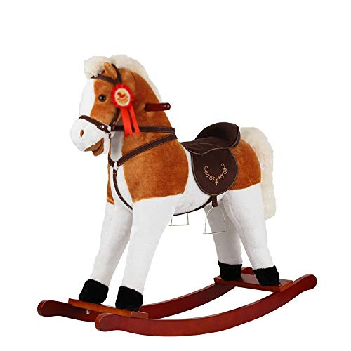 Kibten Personalized Plush Rocking Horse Toy Wood Infant Rocking Animal Kids Children Traditional Toy Funny Kids Ride-On Pony Toy with Wooden Base Gift for Boys Baby Child Children