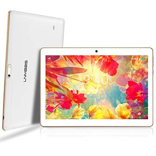 LNMBBS Android 9.0 Tablet de 10   con WiFi 4GB de RAM y 64 GB de Memoria Tablet PC Procesador de Cuatro núcleos y Dobles Ranuras SIM y una Ranura TF Cámara GPS OTG (Blanco)
