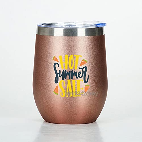 Anyuwerw Vinbehållare 12 oz, varm sommarrea isolerad rostfritt stål resebehållare, roséguld vin tumlare med lock, resa rostfritt vinglas, gåvor