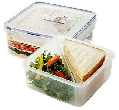 LOCK & LOCK Frischhaltedosen für Sandwiches – aus Kunststoff – 3er Vorratsdosenset – quadratisch – Lunchbox mit Trennfach – 1,2 l