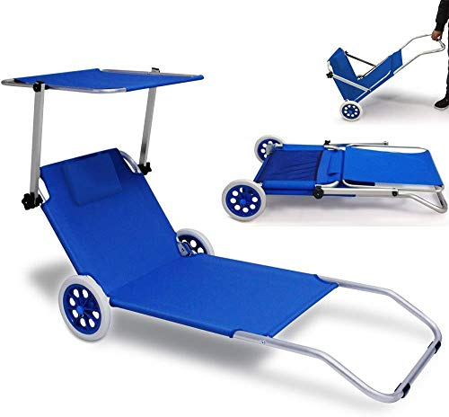 Sillón de salón de playa plegable de oro ajustable LU Gold Sol Lounge 2 ruedas escarpadas,Blue