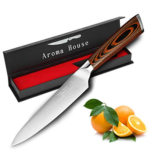 Fruit knife 5.5-Inch Paring knife Kitchen Knife Stainless Steel Cutting Knife with Ergonomic Pattern Wooden Handle