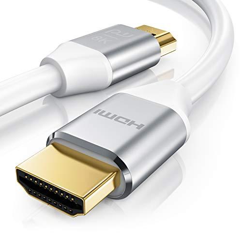 3m HDMI Kabel 8k @ 120 Hz mit DSC - 7680 x 4320 - UHD II - kompatibel zu HDMI 2.1 2.0a 2.0b - 3D - Ultra High Speed mit Ethernet - Dynamic HDR10+ - VRR - ARC - Blu Ray PS4 PS5 Xbox - Weiß