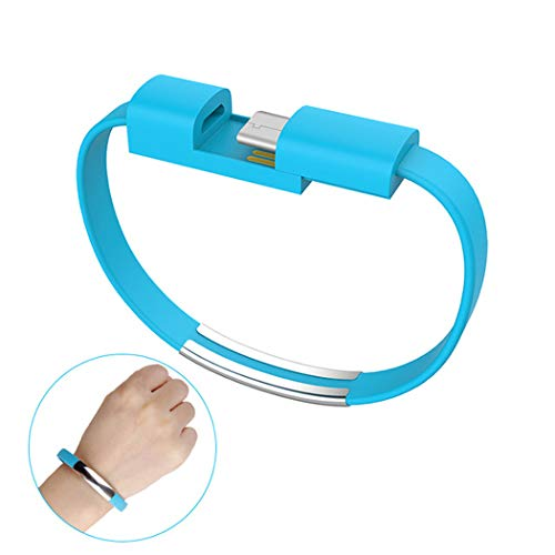 WLWLEO Portable Short Mobile Phone Charge Cable 2 in 1 Bracelet Charging Cable Fashion Sports Couple Wristband USB Data Line for Type C/Android Micro/Apple iOS, 19cm,Blue,for Android