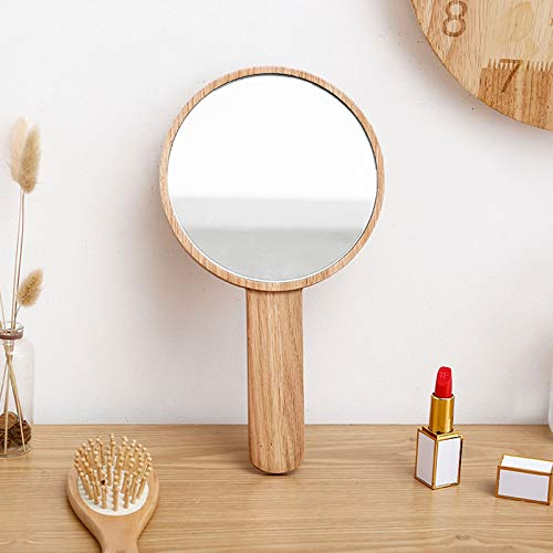 Teepro Handheld Mirror with Handle, Hand Held HD Mirror Wooden Frame, Salon Hairdresser Plain Mirror Retro Style, Cosmetic Salon Makeup Hand Mirror for Professional Barbers,B
