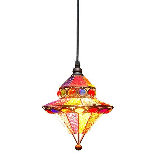 Lampadario Tiffany marocchino Bohemia Lampada a sospensione turca Paralume in vetro multicolore Soggiorno Camera da letto Sala da pranzo Cucina Decor Lampada a sospensione Lampada da soffitto E27