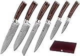 Wakoli 6er Damastmesser Profi Messerset mit Geschenkbox, VG-10, Klingen von 8,50 bis 20,50 cm Länge, sehr hochwertiges Damast Küchenmesserset, japanische Damaszener Kochmesser mit Pakkaholzgriffen, EDIB-Serie