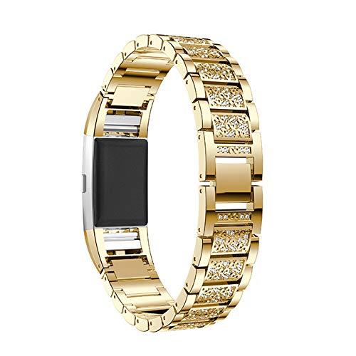 XIALEY Bandas De Metal Compatible con Fitbit Charge 2, Mujeres Correas De Repuesto De Acero Inoxidable Pulseras De Diamantes De Imitación Correa De Muñeca Deportivas para Charge 2,Oro