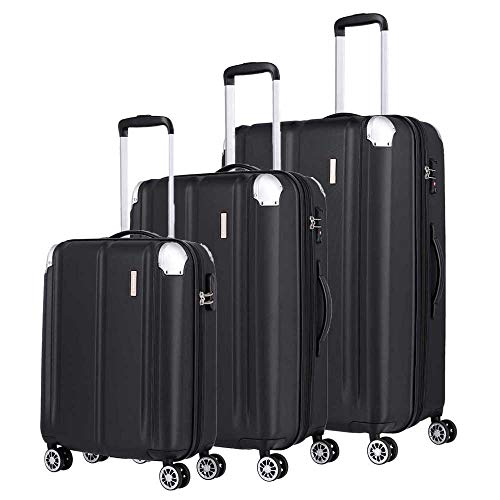 travelite Juego de Maletas de 4 Ruedas tamaño L/M/S con Cerradura TSA y Plegado de expansión (Excepto Talla S), Serie de Maletas City: Robusta Maleta rígida con Superficie antiarañazos, Color Negro