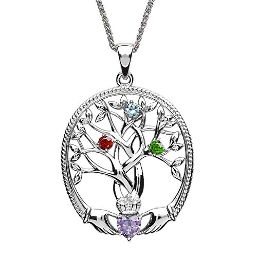 Customizable Irish Family Claddagh Tree of Life Birthstone Mother and 3 Children Pendant with Chain SP2247-3