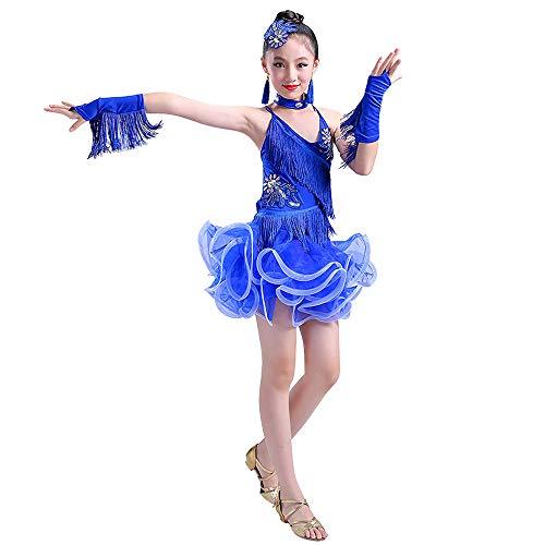 Jonact Mädchen Latin Troddel Dance Kleid - Ballroom Party Performance Kostüm Tutu Rock für Kinder Modern Tanzkleid