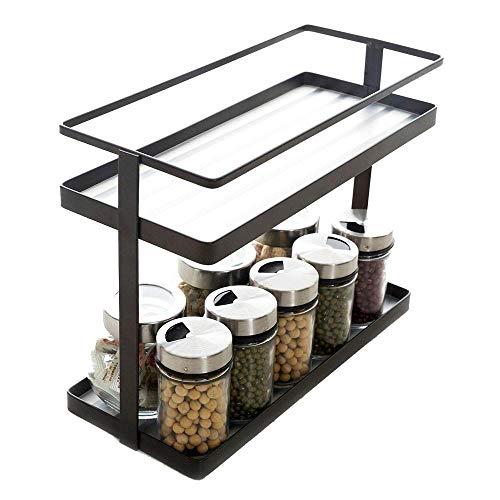 2-Tier Spice Rack Organizer - Kitchen In-cabinet Seasoning Jar Storage Shelf/Bathroom Countertop Stand Racks with Plastic Liner to Support Small Bottles (Deep