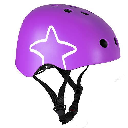 XKMY Casco para niños de 3 a 6 años para niños, ultraligero, equipo de protección para niños, casco de ciclismo y equitación para niños (color: morado, tamaño: S)