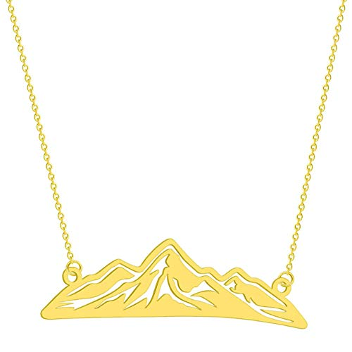Gbrand Hombres Montaña Collar Mujeres Viajes Vintage Joyería Vintage Colgantes Collares Gift-Gold_Color
