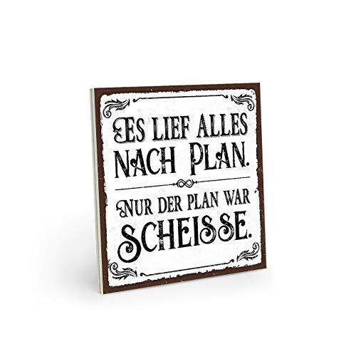 ARTFAVES Holzschild mit Spruch - ES LIEF Alles NACH PLAN - Vintage Shabby Deko-Wandbild/Türschild