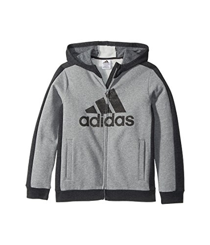 adidas Kids Boy's Athletic's Jacket (Big Kids) Charcoal Grey Heather Large