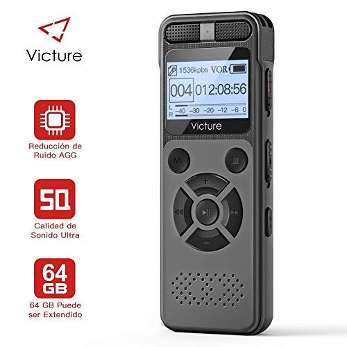 Victure Grabador de Voz Digital Portátil 8GB Compatible con Tarjeta TF de hasta 64 GB con Activación de Voz Recargable por USB 2 Espía de Micrófono para Clases Universitarias Reuniones