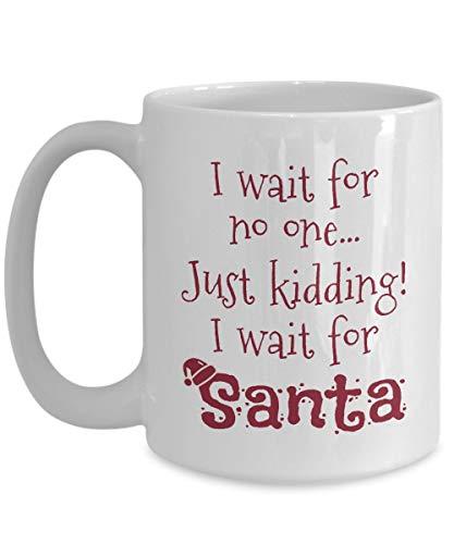 Ich warte auf Santa Ceramic 11oz. Kaffeetasse Einzigartiges Geschenk für Urlaub Weihnachten Eierlikör Nippen