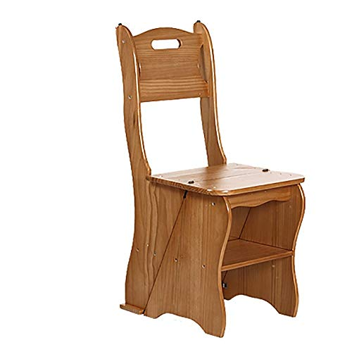 M-Y-S Trittleiter aus Massivholz | Dual-Use-Kletterleiter | Haushaltsklappleiter | Mehrzweckregal | Walnuss, Honig, Holzfarbe | Belastbar 150kg | 35 × 40 × 85 cm (Color : Wood color)