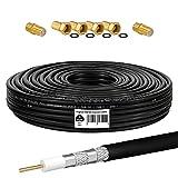 HB-DIGITAL Cable coaxial SAT HQ135 PRO de 15 m, incluye 2 conectores F + 4 conectores F dorados gratis, cable de antena satélite apantallado para sistemas DVB-S/S2 DVB-C/C2 DVB-T/T2 DAB+Radio BK