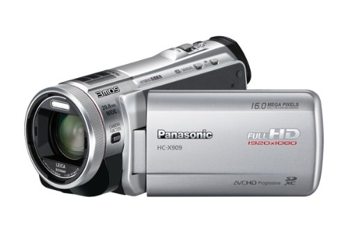 Panasonic HC-X909EG-S Full-HD Camcorder (8,8 cm (3,4 Zoll) Display, 12-fach opt. Zoom, 3MOS System Pro, Leica Objektiv, 29,8mm Weitwinkel, 3D-Option) silber