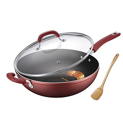 LINGZHIGAN Wok Non-bâton Pan En Alliage D'aluminium Contrôle D'huile Sûr Et Sain Avec Couvercle En Verre Trempé Calibre 32 cm Vin Rouge