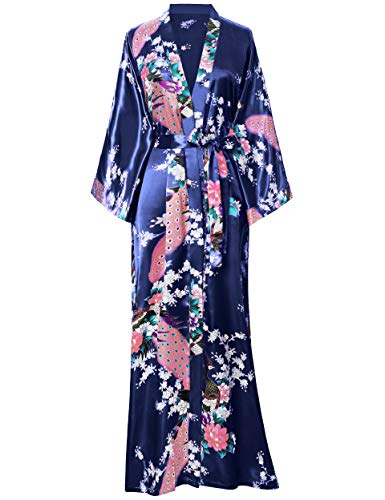 BABEYOND Women's Kimono Robe Long Robes with Peacock and Blossoms Printed Kimono Outfit (Dark Blue)