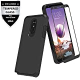 LG Stylo 5 Case with Tempered Glass Screen Protector,IDEA LINE Heavy Duty Protection Hybrid Hard Shockproof Slim Fit Cover - Black