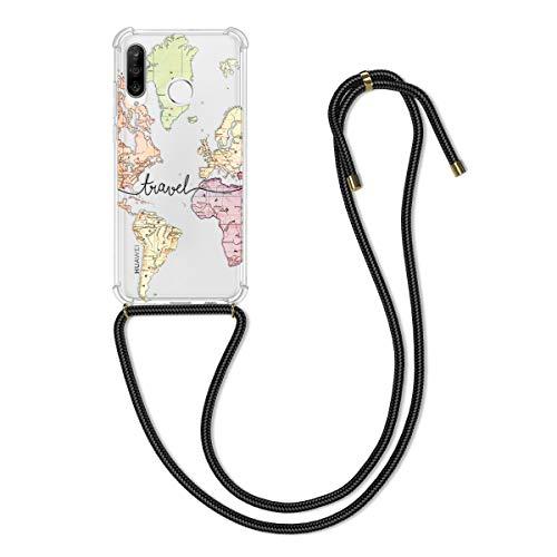 kwmobile Hülle kompatibel mit Huawei P30 Lite - mit Kordel zum Umhängen - Silikon Handy Schutzhülle Travel Schriftzug Schwarz Mehrfarbig Transparent