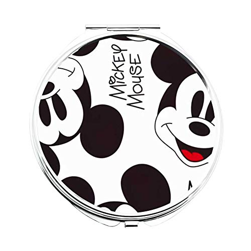 DISNEY COLLECTION Makeup Mirror for Women Girls Mickey Mouse Wallpaper Foldable Compact Travel Handbag Purse Pocket Light Cute Cartoon Pattern Design