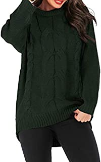 LUZAISHENG Thick Needles Twisted Head Long Sleeve Round Neck Sweater, Size: L(Black) 2020 Fashion (Color : Dark Green)
