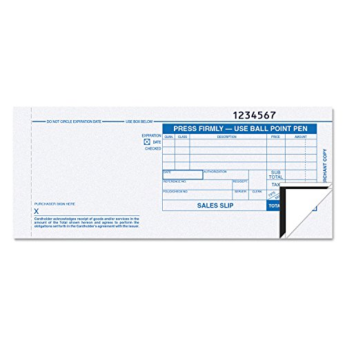 Tops, 38538, Credit Card Sales Slip, 7 7/8 x 3-1/4, Three-Part Carbonless, 100 Forms
