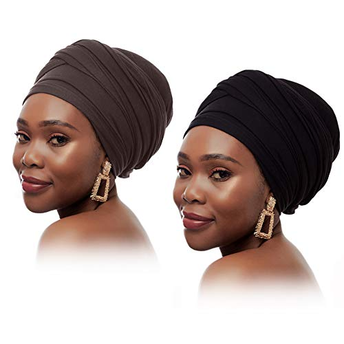 Turban Head Wraps for Women Hat Jersey Hijab Head Scarf Long Hair Scarf Stretchy Turban Solid Color Breathable (Black+Brown)…