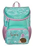 Mini-Me Kindergartenrucksack 3 - 6 Jahre mit Namen bedruckt | Motiv Igel & Vogel in Pastellgrün für Mädchen | kleiner Rucksack mit Brustgurt gepolstert (Ida Igel)