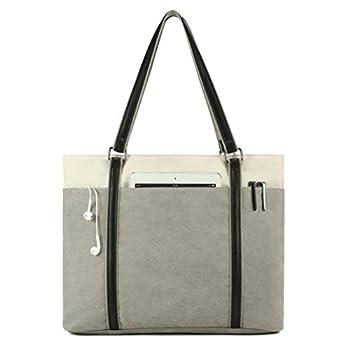 Wxnow Laptop Tote Bag 15.6 Inch Laptop Bag for Women Teacher Large Laptop Organizer Bag Waterproof Briefcase Shoulder Bag for Work Grey