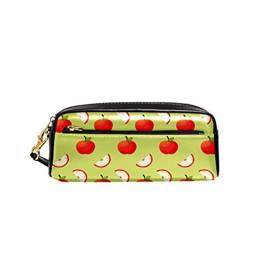Bonito estuche de piel sintética con diseño de manzana roja para adolescentes, niñas, niños, mujeres, cosméticos, escuela secundaria