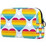 Bolsa Maquillaje Almacenamiento organización Artículos tocador cosméticos Estuche portátil Gay Pride Arco Iris Arco de corazón Colorido para Viajes Aire Libre