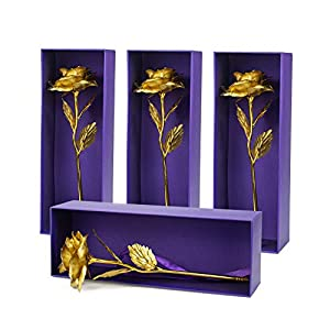fasmov 4 pack gold rose flower present 24k golden foil with luxury gift box, unique gifts for valentine's day thanksgiving mother's day girl's birthday silk flower arrangements
