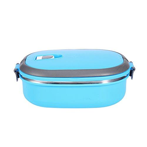 Fiambrera Caja de Almuerzo de Bento Térmica con Aislamiento Térmico de Acero Inoxidable, 1-3 Capas de Contenedores de Alimentos a prueba de fugas para Niños Adulto (Azul 1capas)