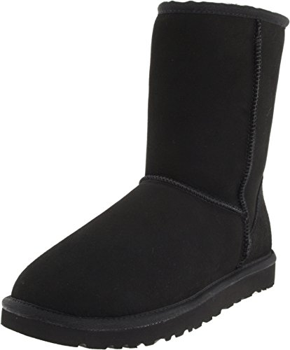 UGG Men's Classic Short Sheepskin Boots, Black, 9 D(M) US