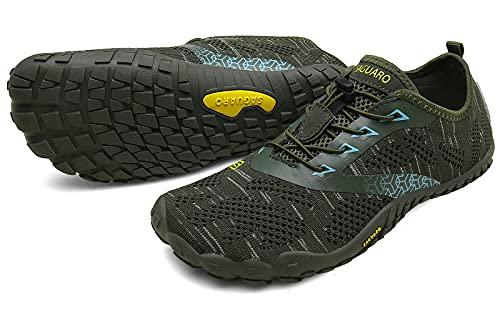 SAGUARO Hombre Mujer Barefoot Zapatillas de Trail Running Minimalistas Zapatillas de Deporte Fitness Gimnasio Caminar Zapatos Descalzos para Correr en Montaña Asfalto Escarpines de Agua, Verde, 40 EU